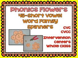 Word Family Flowers: Phonics 45 Flowers in All