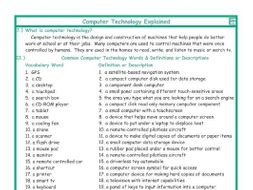 Computer Technology Explanation-Definitions