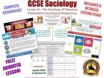 Functionalist Views - Education L16/20 [ AQA GCSE Sociology - 8192 ] Functionalism KS4 Perspectives