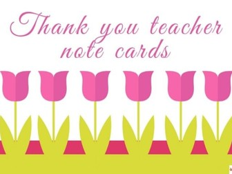 Thank You Teacher Note Cards