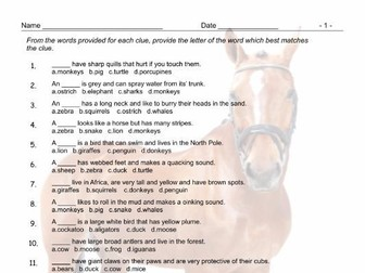 Animals Multiple Choice Worksheet