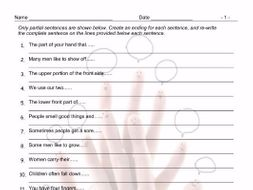 Body Parts Sentence Finishers Worksheet