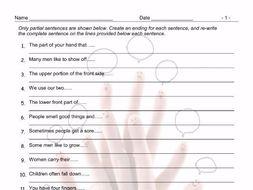 Body Parts Sentence Finishers Worksheet by eslfungames - Teaching ...