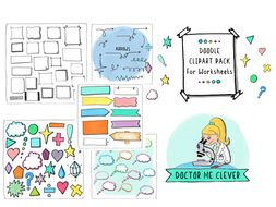 Doodle Cilpart Pack for Worksheets. Includes Frames, Icons, Thought Bubbles, Signs and Arrows.