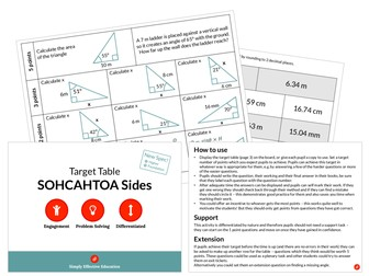SOHCAHTOA Sides (Target Table)