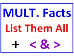 Multiplication Facts List Them All PLUS Greater Than Less Than Mult Facts (5 Worksheets)