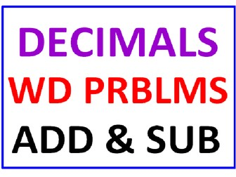 Decimals Word Problems Addition and Subtraction