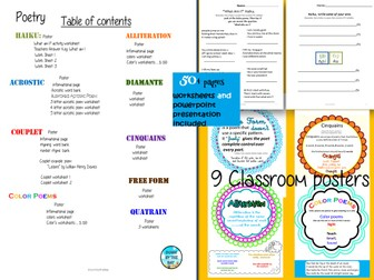 Poetry-50+ page workbook and PowerPoint presentation