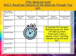 REVISION STARTER ACTIVITIES: Entire unit quizzes Medicine Through Time, Edexcel