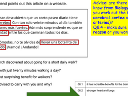 AQA NEW GCSE 9-1 Spanish Second Specimen HIGHER READING exam paper -  advice, answers, Quizlet