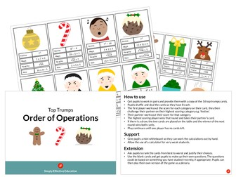 Christmas Top Trumps (Order of Operations)