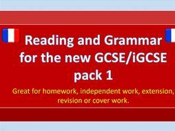 NEW GCSE / iGCSE Reading and Grammar French bundle