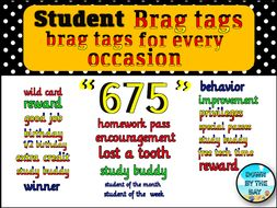 675 Classroom brag tags for students