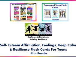 Self-Esteem, Feelings, Keep Calm and Resilience Flash Cards for Teens Ultra Bundle