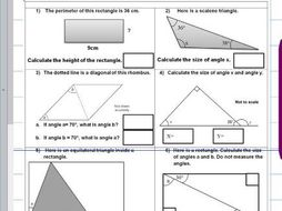 properties of rectangles and triangles missing angles facts ks2 year 5 6 sats worksheet. Black Bedroom Furniture Sets. Home Design Ideas