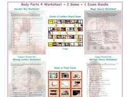 Body Parts 4 Worksheet-2 Game-1 Exam Bundle