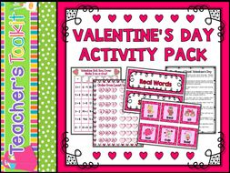 Valentine's Day Activity Pack Maths and Literacy