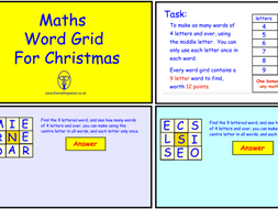 Maths Word Grid For Christmas (pdf version)