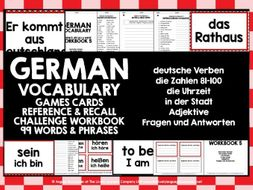 GERMAN VOCABULARY CARDS WITH REFERENCE & RECALL WORKBOOK #5