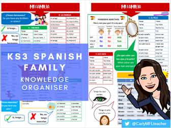 Y7/KS3 Spanish Family Topic Knowledge Organiser