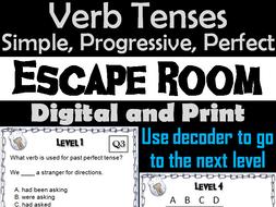 Simple, Progressive and Perfect Verb Tenses Escape Room