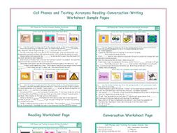 Cell Phones and Texting Acronyms Reading-Conversation-Writing Worksheets