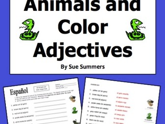 Spanish Colors Adjectives With Animals Worksheet