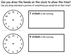 O Clock Drawing Hands On Clocks And Writing The Time 2