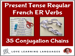 Present tense French ER Verbs - Primary French conjugation chains - Cut and paste