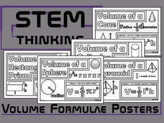 Volume Formulae Maths Posters Bundle