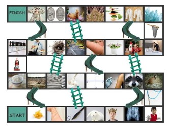 Phonics Consonant Letters m-n-q-r-v-x Photo Chutes-Ladders Game
