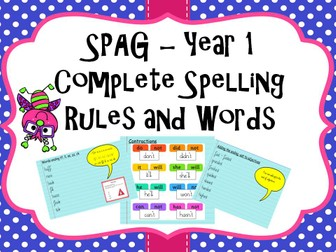 Year 1 Spelling Rules and SPAG