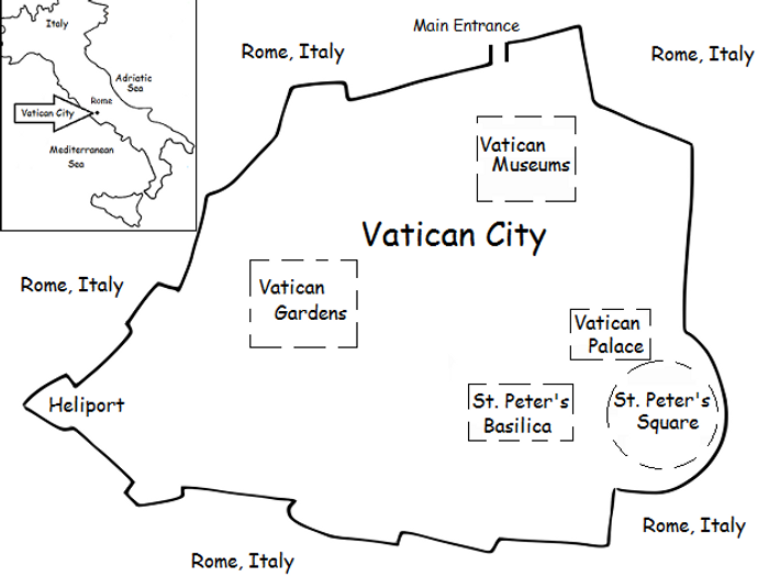 image relating to Printable Map of Rome identified as VATICAN Metropolis - Printable handout with uncomplicated map