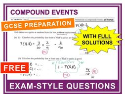 GCSE 9-1 Exam Question Practice (Probability: Compound Events)