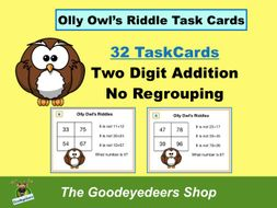 Maths Task Cards - Two-Digit Addition - No Regrouping