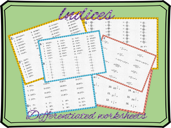 Indices: indices differentiated worksheets