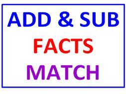 Addition and Subtraction Facts Match