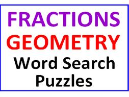 Fractions Word Search Puzzle PLUS Geometry Word Search Puzzle (2 Puzzles)