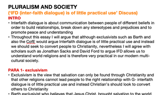OCR RELIGIOUS STUDIES- Pluralism and Society ESSAY PLANS