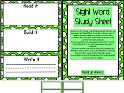 Sight Word Study Sheet