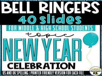 Bell Ringers Questions | Topic: New Year's | Middle and High School