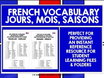 FRENCH DAYS MONTHS SEASONS REFERENCE LIST