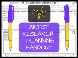 Artist research planning handout / poster / template