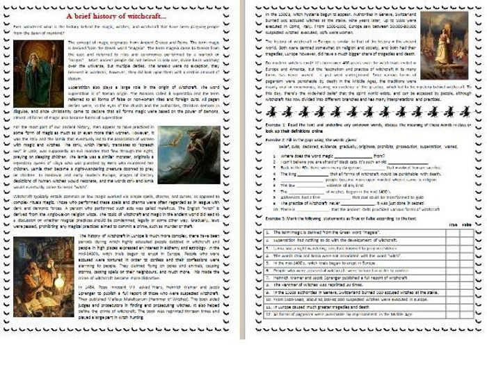 Amazing A Brief History Of Witchcraft   Halloween Reading Comprehension Text /  Worksheet