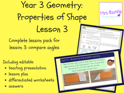 3. Geometry: compare angles lesson pack (Y3)