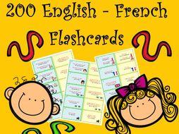 200 Bilingual English - French Basic Sentences and Vocabulary Flashcards
