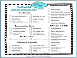Vacation Checklist | Checklist Pour Les Vacances D Ete French Summer Vacation Checklist