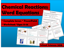 Chemical Reactions Word Equations By Schoolsciences Teaching