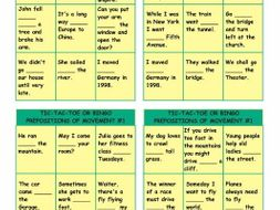 Prepositions of Movement With Text Tic-Tac-Toe or Bingo