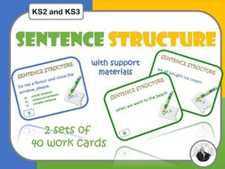 Complex sentence and sentence structure cards for KS2/KS3 English grammar